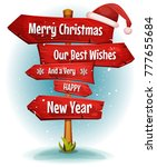 merry christmas wishes on red... | Shutterstock .eps vector #777655684