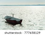 alone boat on denmark fyord on... | Shutterstock . vector #777658129