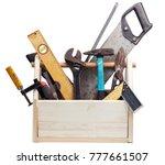 old carpenter wooden toolbox... | Shutterstock . vector #777661507