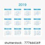 2019 calendar planner design. | Shutterstock .eps vector #777666169