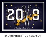 dark blue 2018 hairdresser ... | Shutterstock .eps vector #777667504