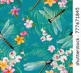 tropical floral seamless... | Shutterstock .eps vector #777671845