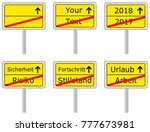 typical german town exit sign... | Shutterstock .eps vector #777673981