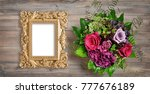 golden picture frame and rose... | Shutterstock . vector #777676189