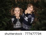 a little child by the new year...   Shutterstock . vector #777677734