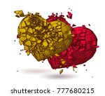 monochrome two broken heart... | Shutterstock .eps vector #777680215