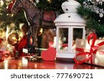 festive background and greeting ... | Shutterstock . vector #777690721