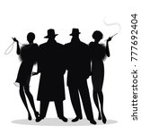 silhouettes of two men and two... | Shutterstock .eps vector #777692404