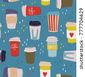 hand drawn various coffee cups. ...   Shutterstock .eps vector #777704629
