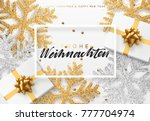 christmas background with gifts ... | Shutterstock . vector #777704974