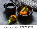 black ceramiv table ware tea... | Shutterstock . vector #777705091