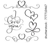 i love you text with hearts on... | Shutterstock . vector #777710467