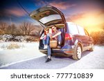 winter trip and two lovers in...   Shutterstock . vector #777710839