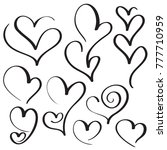 set of calligraphy heart art... | Shutterstock . vector #777710959