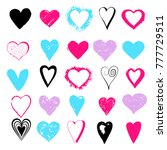 set hand drawn hearts isolated... | Shutterstock .eps vector #777729511