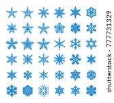 snowflakes vector icon set.... | Shutterstock .eps vector #777731329