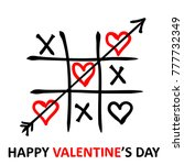 valentine's day card. tic tac... | Shutterstock .eps vector #777732349