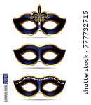 set of carnival mask ... | Shutterstock .eps vector #777732715