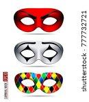 set of carnival mask ... | Shutterstock .eps vector #777732721