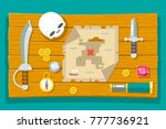 pirate treasure adventure game... | Shutterstock .eps vector #777736921