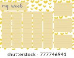 weekly planner with hand drawn... | Shutterstock .eps vector #777746941