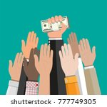 hand holding pile of cash money.... | Shutterstock .eps vector #777749305