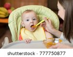baby bot eating healthy food...   Shutterstock . vector #777750877