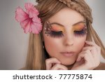 Beautiful Girl Face with a make-up - stock photo