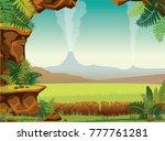 prehistoric cartoon landscape   ... | Shutterstock .eps vector #777761281