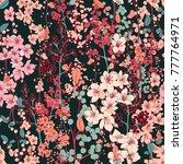 cherry blossom vector seamless... | Shutterstock .eps vector #777764971