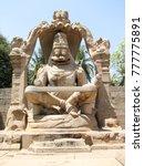narasimha stone statue in hampi | Shutterstock . vector #777775891