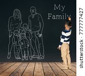 the child draws a family on the ... | Shutterstock . vector #777777427