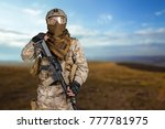 modern soldier with rifle | Shutterstock . vector #777781975