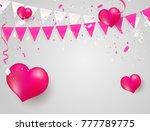 pink heart white balloons ... | Shutterstock .eps vector #777789775
