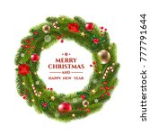 xmas wreath with text  | Shutterstock . vector #777791644