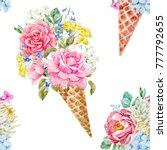 watercolor pattern ice cream... | Shutterstock . vector #777792655