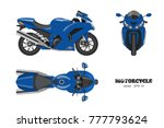 blue motorcycle in realistic... | Shutterstock .eps vector #777793624