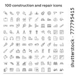 100 construction and repair...   Shutterstock .eps vector #777795415