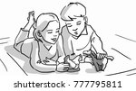 a boy and a girl are playing... | Shutterstock .eps vector #777795811