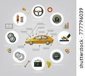 vector flat car service... | Shutterstock .eps vector #777796039