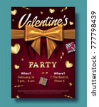 valentines day party flyer with ... | Shutterstock .eps vector #777798439