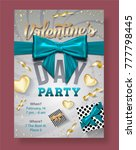 valentines day party flyer with ... | Shutterstock .eps vector #777798445