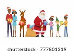 santa with compaions... | Shutterstock . vector #777801319