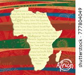 african continent with list of... | Shutterstock .eps vector #777804049