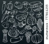 set hand drawn vegetables icons ... | Shutterstock .eps vector #777811255