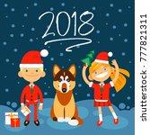 2018 new year illustration. dog ... | Shutterstock .eps vector #777821311