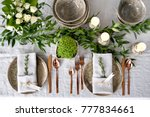 holiday table setting with... | Shutterstock . vector #777834661