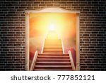 ladder rising  in white double... | Shutterstock . vector #777852121