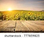 empty wooden plank with... | Shutterstock . vector #777859825