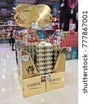 Small photo of Bangkok, Thailand - December 13, 2017 : Shelf of Ferrero Rocher premium chocolate at market or supermarket in Bangkok, Thailand. Ferrero Rocher is a premium chocolate produced by the Italian chocola